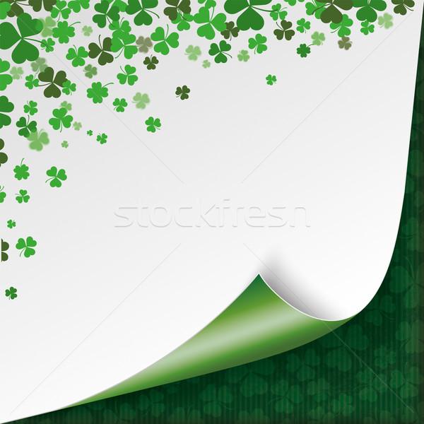 Scrolled Corner Vintage Cover Green Shamrocks Stripes Stock photo © limbi007