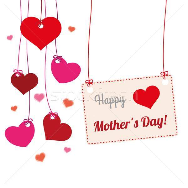 Hanging Hearts Banner Mothersday Stock photo © limbi007