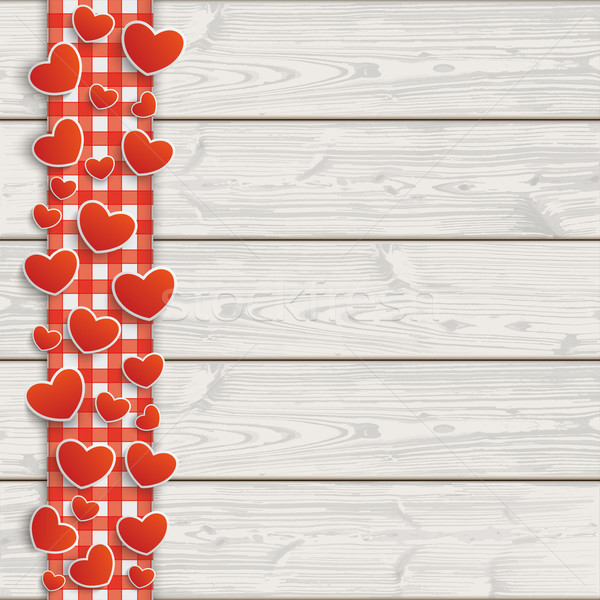 Wooden Planks Red Checked Tablecloth Hearts Stock photo © limbi007