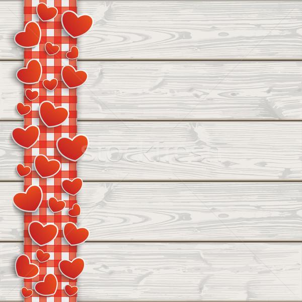 木製 赤 テーブルクロス 心 eps ストックフォト © limbi007