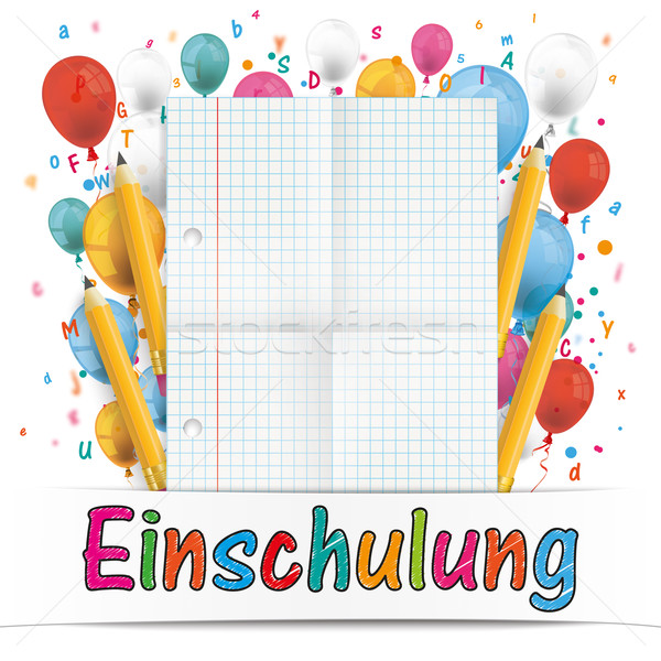 Banner Balloons Letters Folded Paper Einschulung Stock photo © limbi007