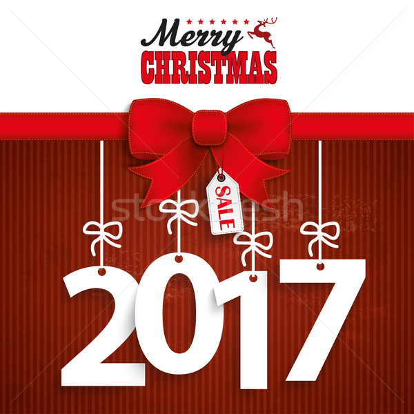 Red Ribbon Christmas Price Sticker 2017 Stock photo © limbi007