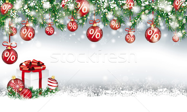 Christmas Sale Header Twigs Red Percent Baubles Snow Gift Stock photo © limbi007