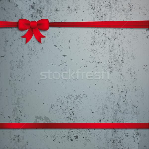 Card Red Ribbon Bow Cover Concrete Stock photo © limbi007