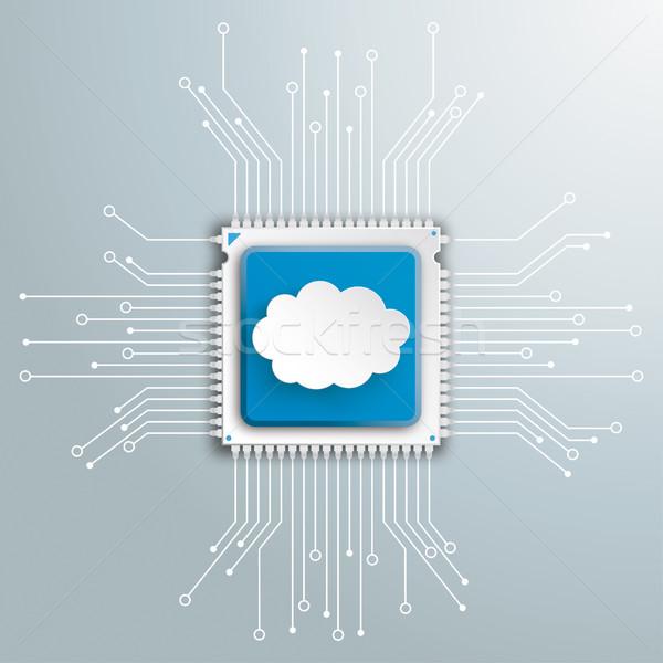 Cloud Futuristic Processor Circuit Board Infographic Stock photo © limbi007