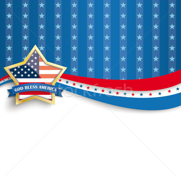 God Bless America Golden Star Blue Stripes Stock photo © limbi007