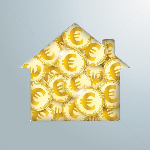 House Hole Golden Euro Coins  Stock photo © limbi007