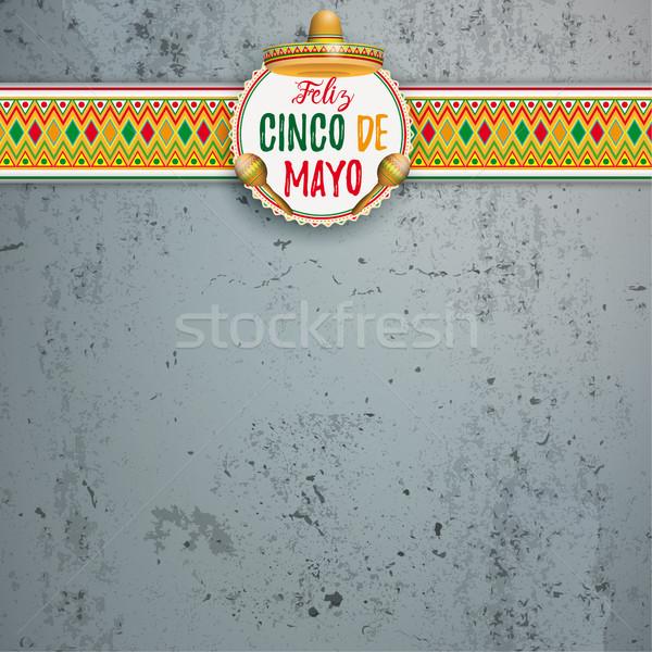 Mayonesa emblema concretas mexicano adornos sombrero Foto stock © limbi007