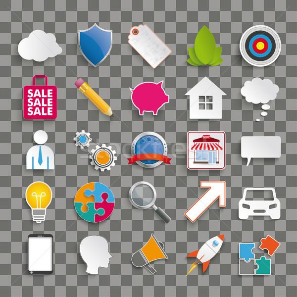 Business Infographic Elements Icons Transparent Stock photo © limbi007