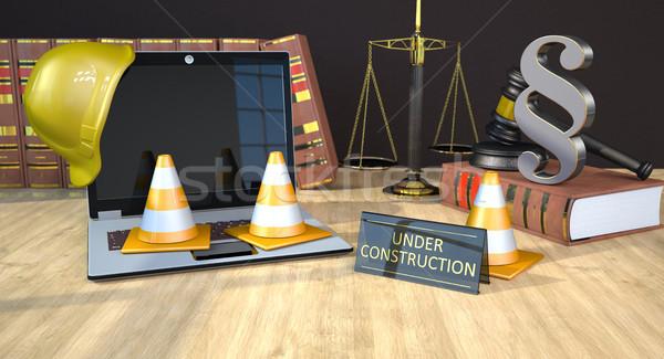 Sito costruzione legge libri martelletto scala Foto d'archivio © limbi007