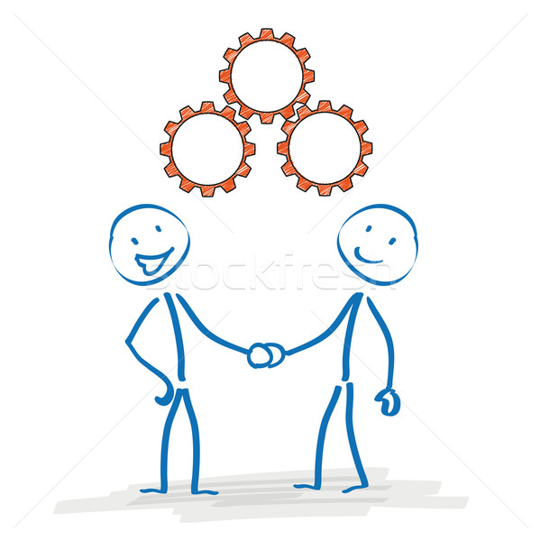 Stickman Handshake Gears Stock photo © limbi007