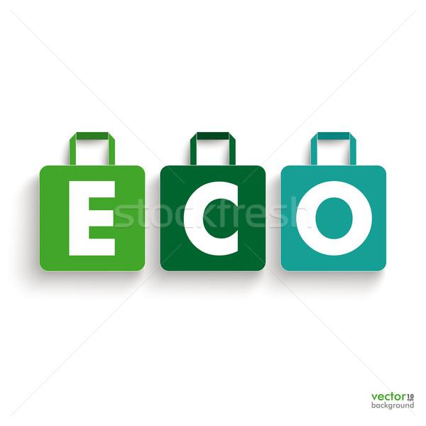 Colorat Hârtie Pungă De Cumpărături Eco Text