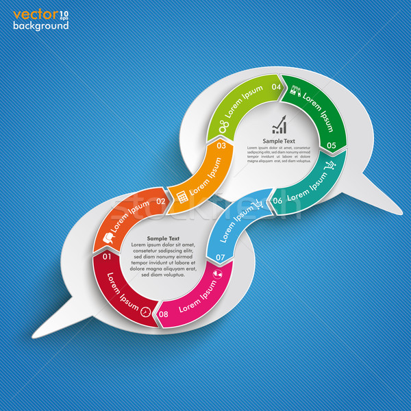 Stock photo: 2 Speech Bubbles Connected Cycle Blue Sky