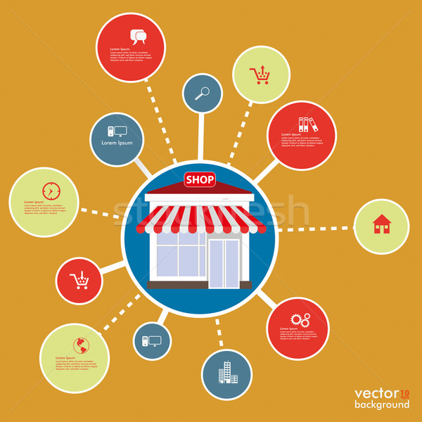 Cirkels winkel ontwerp oranje eps Stockfoto © limbi007