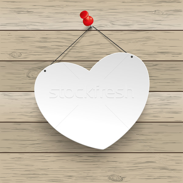 Paper Heart Thumbtack Wood Stock photo © limbi007