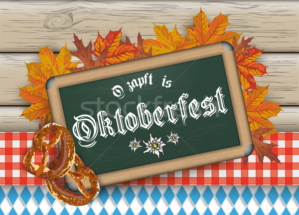 Oktoberfest Blackboard Pretzel Wood Stock photo © limbi007