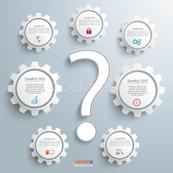 質問 歯車 インフォグラフィック 白 疑問符 グレー ストックフォト © limbi007