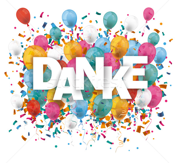 Danke Balloons Confetti Stock photo © limbi007