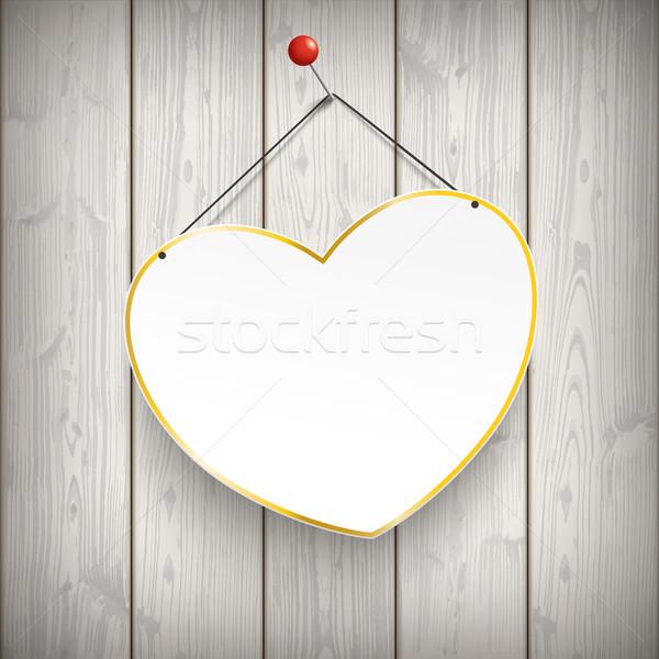Hanging Heart Thumbtack Wood Stock photo © limbi007