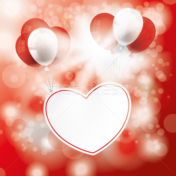 Sunlight Red Bokeh eart Balloons Stock photo © limbi007