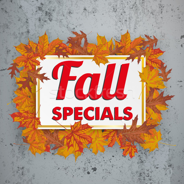 Golden Paper Board Fall Specials Foliage Concrete Stock photo © limbi007