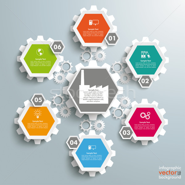 6 Colored Hexagons Background Industry Gears Stock photo © limbi007