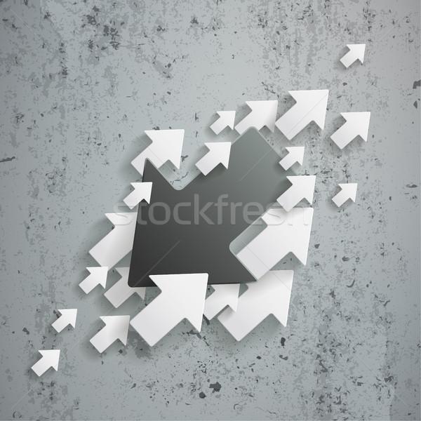 Zwart wit pijlen oppositie beton eps 10 Stockfoto © limbi007