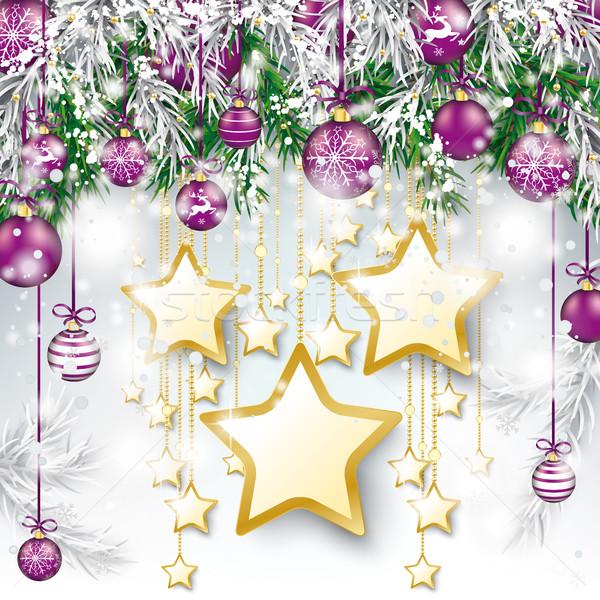 Christmas paars gouden sterren sneeuw eps Stockfoto © limbi007