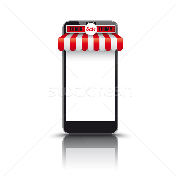 Stock photo: Smartphone Red White Awning Black Friday