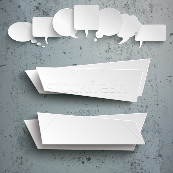 Stock photo: White Speech Bubbles 2 Abstract Banners Concrete