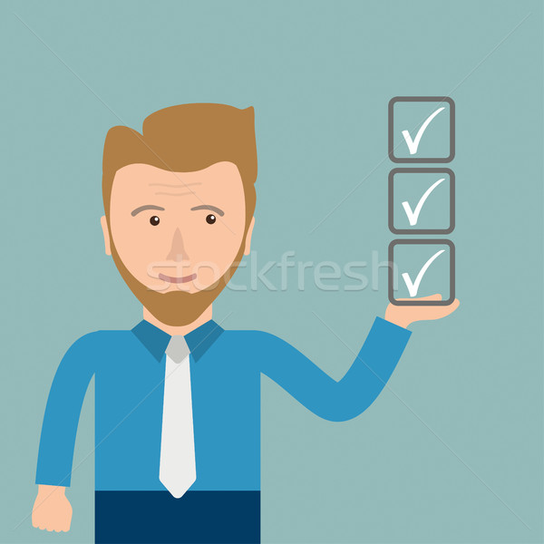 Cartoon Businessman Batched Checklist Stock photo © limbi007