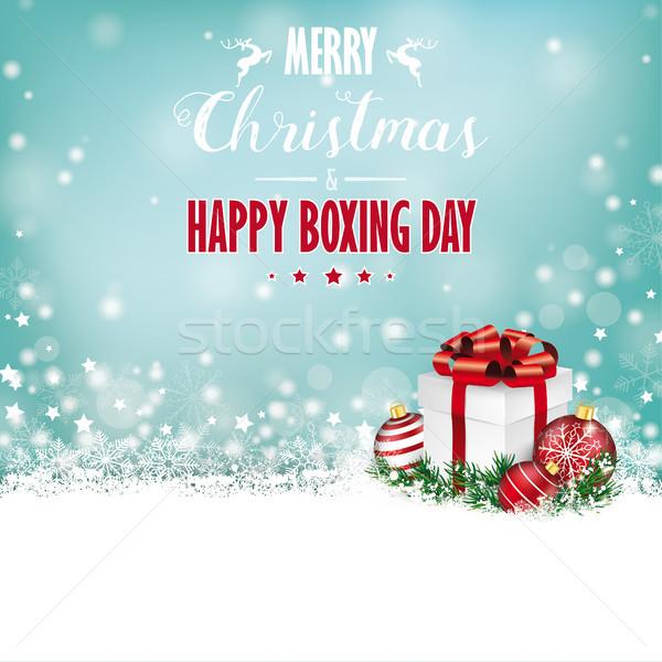 Christmas Gift Baubles  Snow Bokeh Stars Boxing Day Stock photo © limbi007