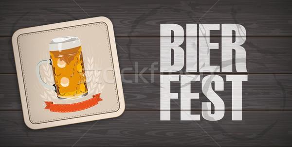 Dark Wooden Background Bevel Beer Coaster Bierfest Stock photo © limbi007