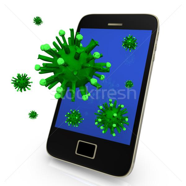 вирус смартфон зеленый белый бизнеса компьютер Сток-фото © limbi007