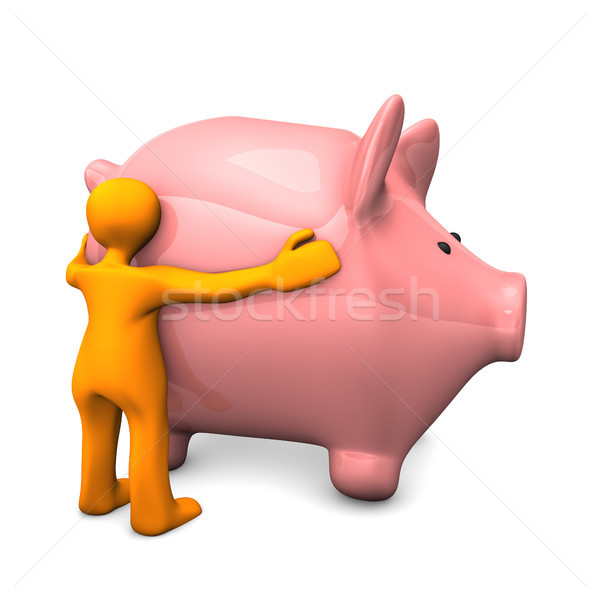 Manikin Likes Piggy Bank Stock photo © limbi007