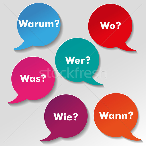 Stock photo: Colorful Questions Speech Paper Labels