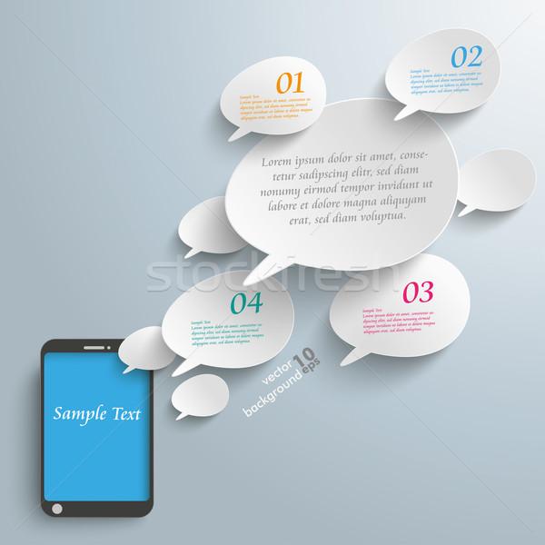 Bevel Speech Bubbles Smartphone Stock photo © limbi007