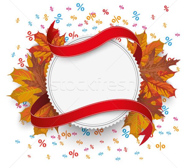 Emblem Autumn Foliage Flag Percents Stock photo © limbi007