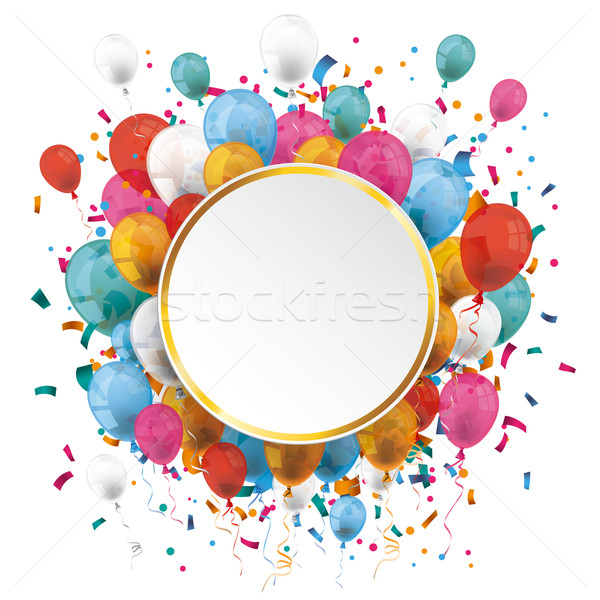 Golden Paper Circle Balloons Confetti  Stock photo © limbi007