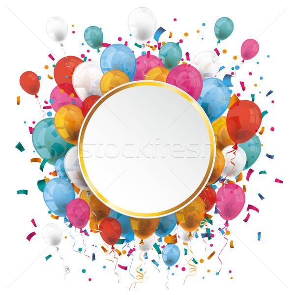 Or papier cercle ballons confettis emblème Photo stock © limbi007