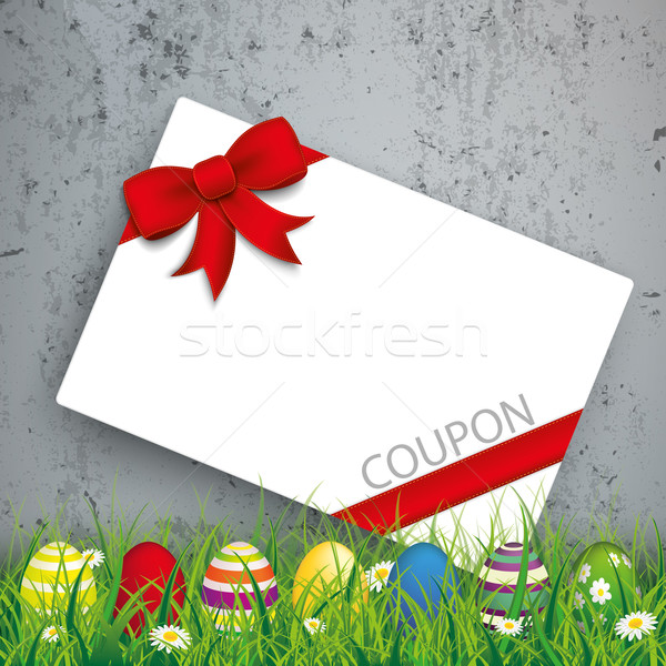 Colored Easter Eggs Grass Coupon Concrete Stock photo © limbi007