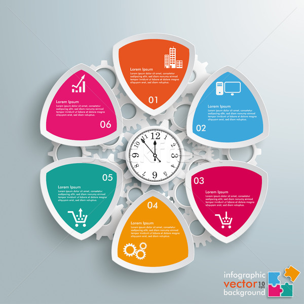 6 Round Triangles Production Hours Clock Stock photo © limbi007