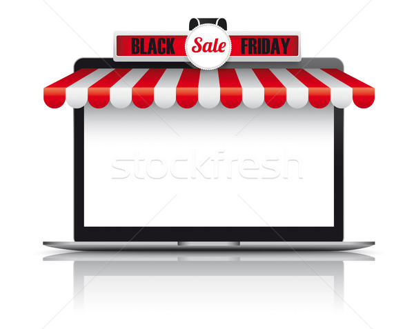 Notebook Rood witte black friday verkoop eps Stockfoto © limbi007