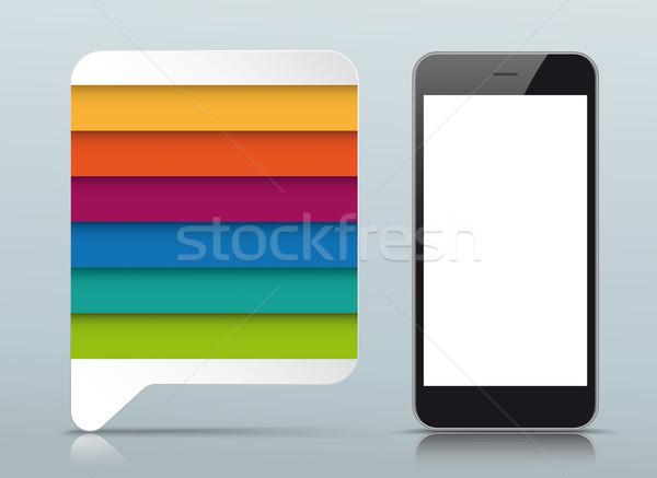 речи пузырь серый зеркало опции смартфон Сток-фото © limbi007