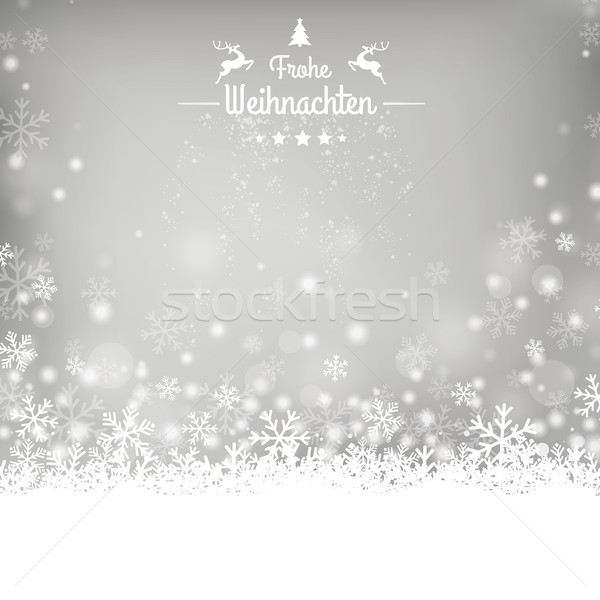 Frohe Weihnachten Stars Snow Gray Background Stock photo © limbi007
