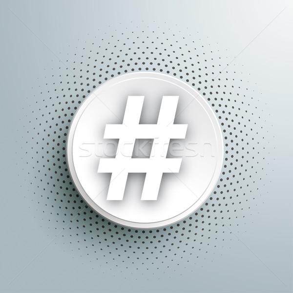 White Paper Circle Halftone Hashtag Stock photo © limbi007