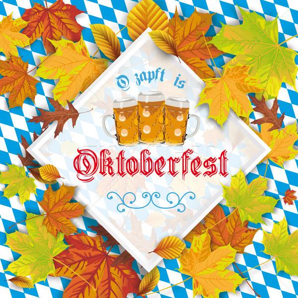 Autumn Foliage Frame Oktoberfest Bavarian Background Stock photo © limbi007