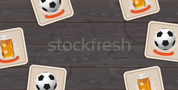Stock photo: Dark Wooden Background Beer Coasters Classic Footballs Centre