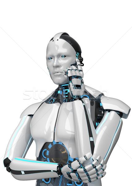 Zdjęcia stock: Myślenia · biały · robot · odizolowany · 3d · ilustracji · Internetu