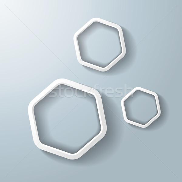 ストックフォト: 3 · 白 · 六角形 · リング · eps · 10